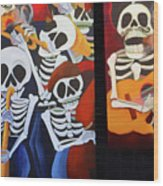 Sax Guitar Music Day Of The Dead  Wood Print