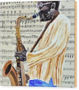 Sax Man With A Yellow Hat Wood Print