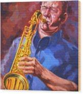 Sax Player  Wood Print