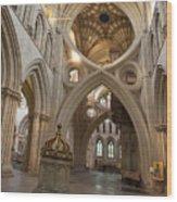 Saxon Baptismal Font Wells Cathedral, Somerset Uk Wood Print