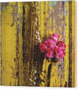 Saxophone And Roses On Wall Wood Print
