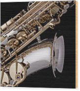 Saxophone Isolated Black Wood Print by M K  Miller