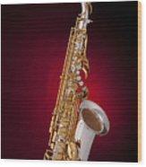 Saxophone On Red Spotlight Wood Print by M K  Miller