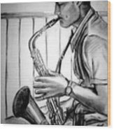 Saxophone Player Wood Print