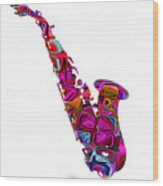 Saxophone With Shadow White Background Wood Print