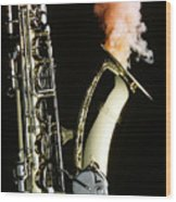 Saxophone With Smoke Wood Print
