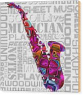 Saxophone With Word Background Wood Print