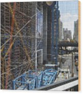 Scaffolding In The City Wood Print