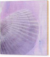 Scallop Sea Shell In Purple Wood Print by Betty LaRue