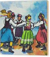 Scandinavian Dancers Wood Print by Kathy Braud
