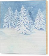 Scandinavian Winter Snowy Trees Hygge Wood Print