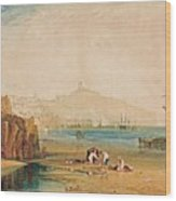Scarborough Town And Castle Morning Boys Catching Crabs Wood Print