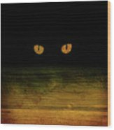Scare-d-cat Wood Print by Shevon Johnson