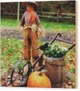 Scarecrow And Pumpkin Wood Print