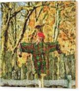 scarecrow in field at Stanhope Waterloo Village Wood Print
