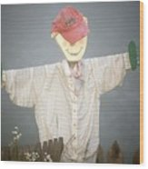 Scarecrow In Fog Wood Print