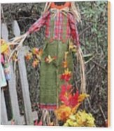 Scarecrow In The Garden Wood Print