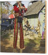 Scarecrow Walking On Stilts Wood Print
