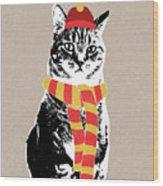Scarf Weather Cat- Art By Linda Woods Wood Print