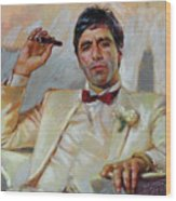 Scarface Wood Print by Ylli Haruni