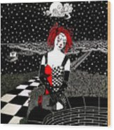 Scarlet Checkers Wood Print