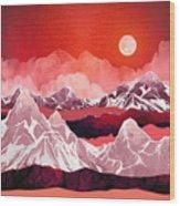 Scarlet Glow Wood Print