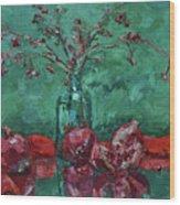 Scarlet Pomegranates Wood Print