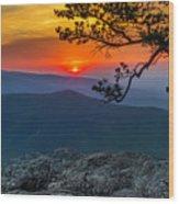 Scarlet Sky At Ravens Roost Panorama I Wood Print