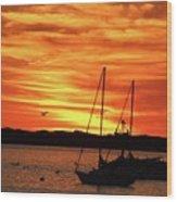 Scarlet Sunrise On Provincetown Pier 1  Wood Print