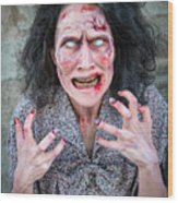 Scary Angry Zombie Woman Wood Print