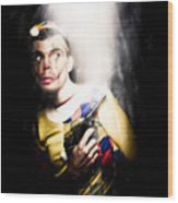 Scary Clown Standing In Shadows With Smoking Gun Wood Print