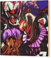 Scary Clowns Abstract Wood Print