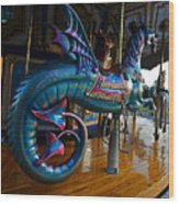 Scary Merry Go Round Boston Common Carousel Wood Print