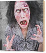 Scary Screaming Zombie Woman Wood Print