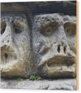 Scary Stone Heads Wood Print