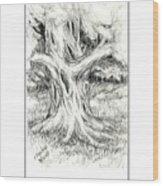 Scary Tree Wood Print