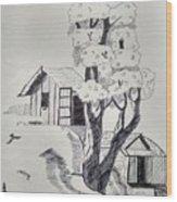 Scene Behind Rural Wood Print