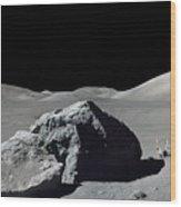 Scene From Apollo 17 Extravehicular Wood Print