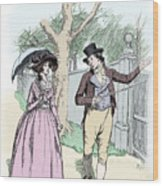 Scene From Sense And Sensibility By Jane Austen Wood Print