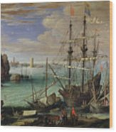 Scene Of A Sea Port Wood Print