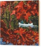 Scenic Autumn canoe  Wood Print