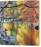 Scenic New Jersey Fall Fly Fishing  Wood Print