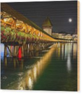 Scenic Night View Of The Chapel Bridge In Old Town Lucerne Wood Print