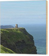 Scenic O'brien's Tower A Top The Cliff's Of Moher In Ireland Wood Print