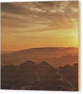 Scenic Sunset Over Hollywood Hills Wood Print