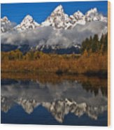 Scenic Teton Fall Reflections Wood Print