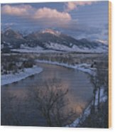 Scenic Twilight View Of The Yellowstone Wood Print