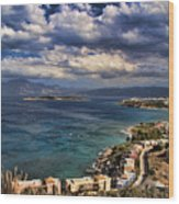 Scenic View Of Eastern Crete Wood Print by David Smith
