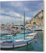 Scenic View Of Historical Marina In Nice, France Wood Print