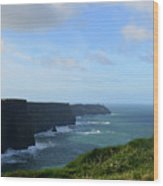Scenic Views Of Ireland's Cliff's Of Moher In County Clare Wood Print